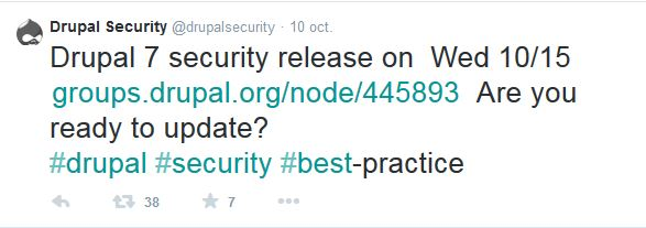 tweet de la drupal security team du 10 octobre 2014