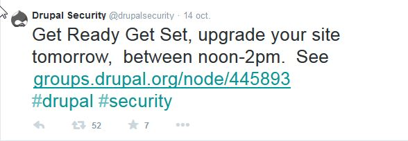tweet of the Drupal security team on October 14