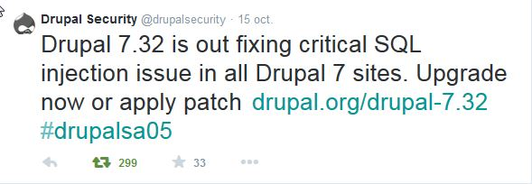 tweet of the Drupal security team of 15 October