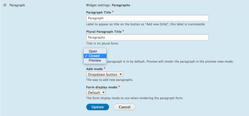 Improve user experience with Paragraphs on Drupal 8 | Flocon