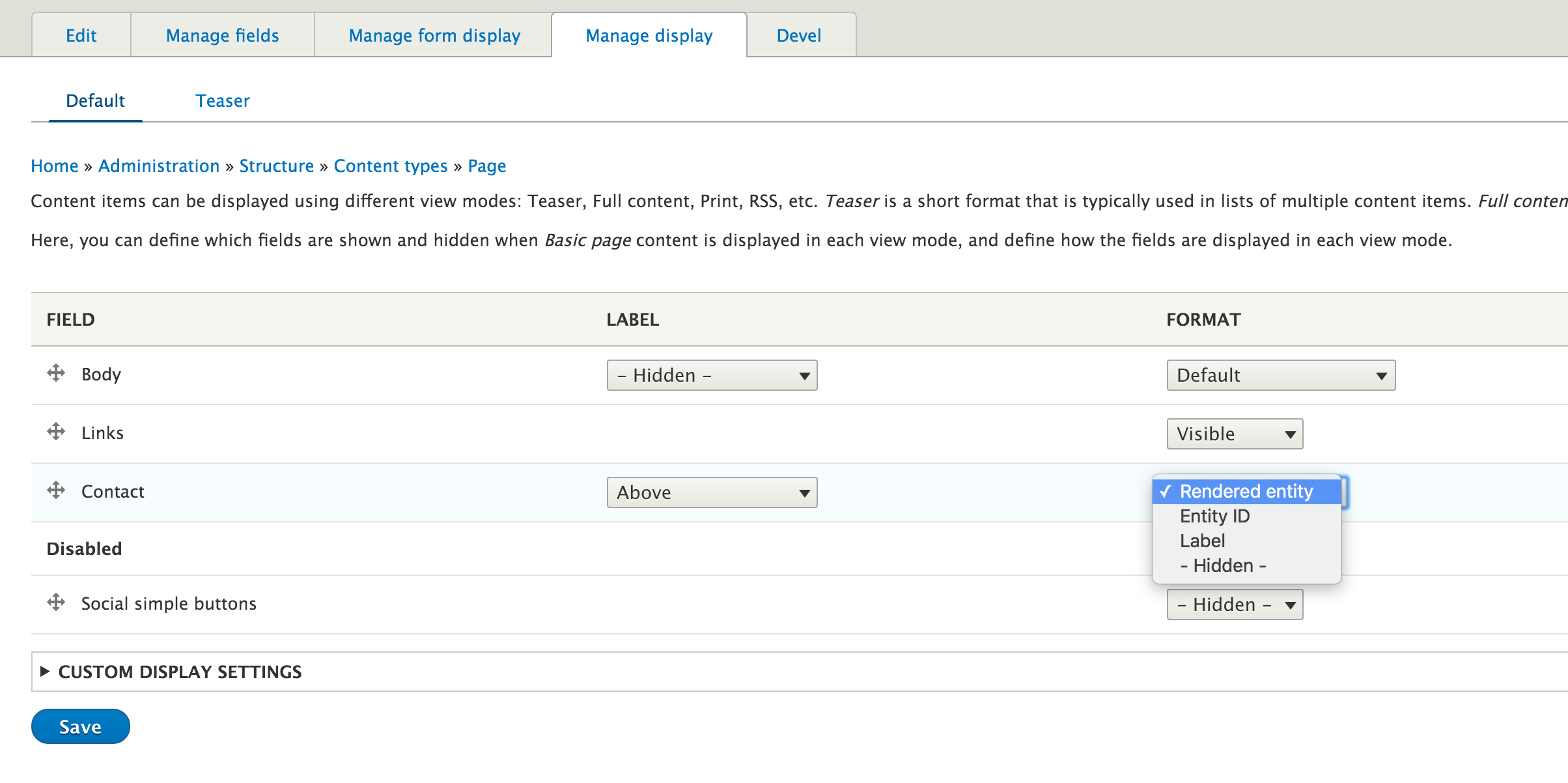 Step5: configure field formatter