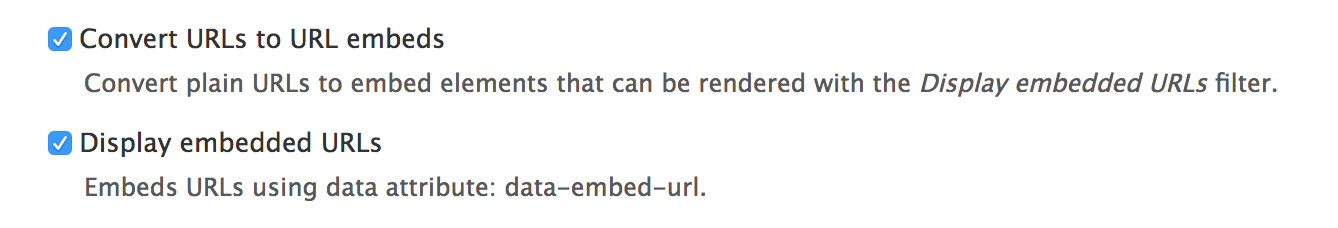 URL embed filters