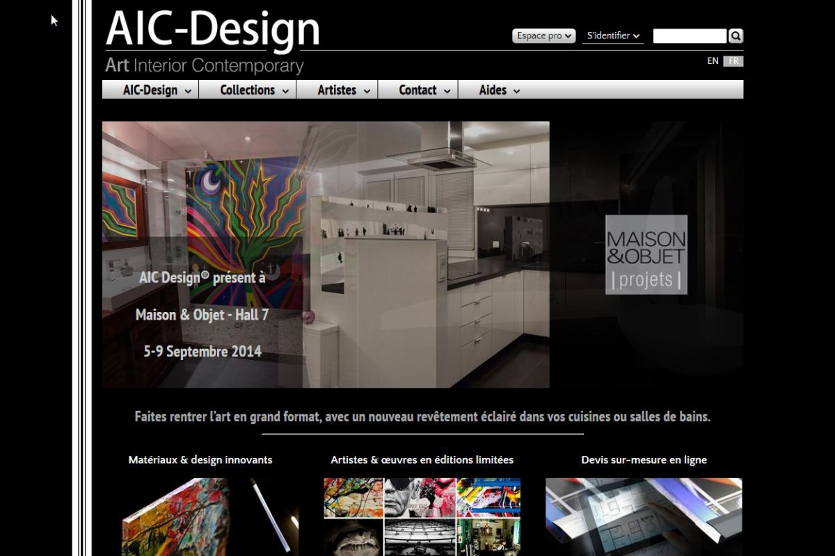 Capture d'écran du site Aic-Design